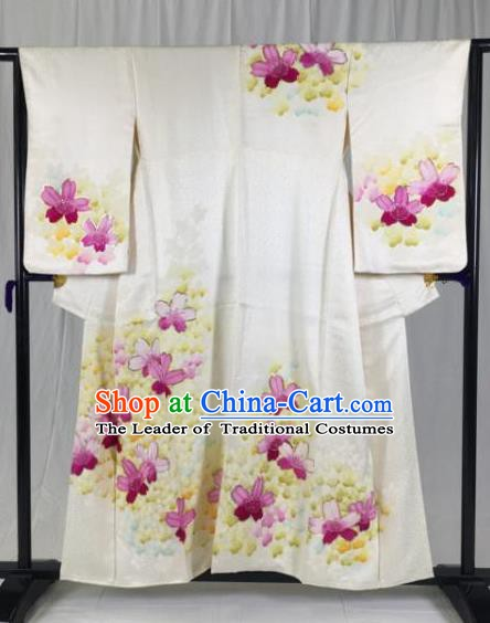 Japan Traditional Palace Printing Kimono Formal Costume Furisode Kimonos Ancient Yukata Dress for Women