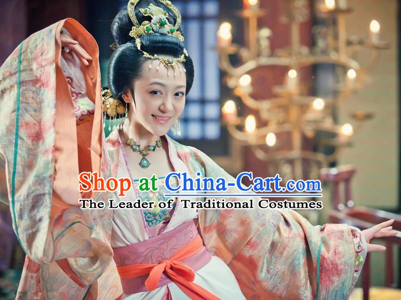 Chinese Song Dynasty Imperial Consort of Zhao Guangyi Embroidered Dress Ancient Palace Lady Dance Replica Costume for Women