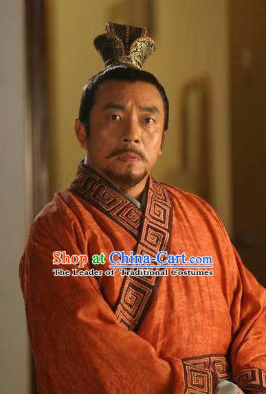 Chinese Song Dynasty Ancient Traitor Minister Qin Hui Embroidered Replica Costume for Men