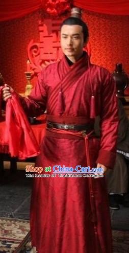 Ancient Chinese Song Dynasty General Yueh Fei Wedding Replica Costume for Men