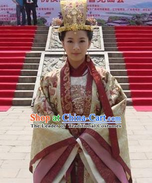 Chinese Ancient Song Dynasty Zhenzong Empress Embroidered Replica Costume for Women