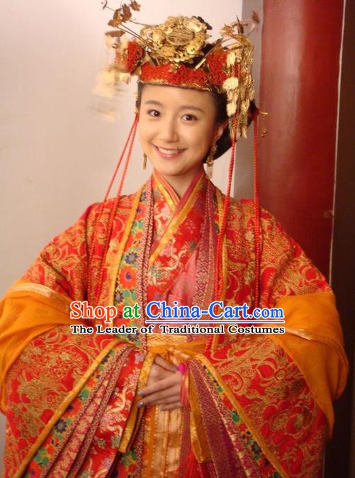 Chinese Ancient Song Dynasty Palace Princess Wedding Embroidered Replica Costume for Women