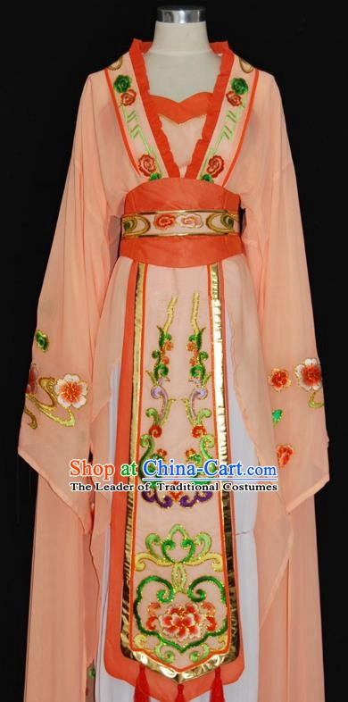China Traditional Beijing Opera Actress Costume Chinese Shaoxing Opera Huadan Embroidered Orange Dress