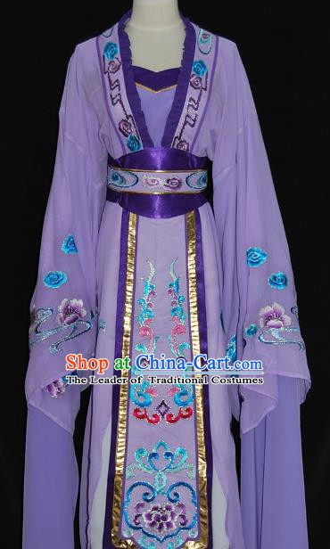 China Traditional Beijing Opera Actress Costume Chinese Shaoxing Opera Huadan Embroidered Purple Dress