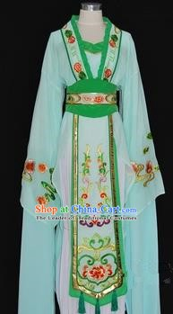 China Traditional Beijing Opera Actress Costume Chinese Shaoxing Opera Huadan Embroidered Green Dress