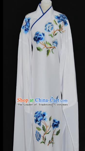 China Traditional Beijing Opera Niche Embroidered Blue Peony Robe Chinese Peking Opera Scholar Costume