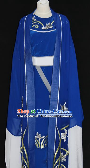 China Traditional Beijing Opera Niche Embroidered Orchid Costume Chinese Peking Opera Scholar Blue Robe for Adults