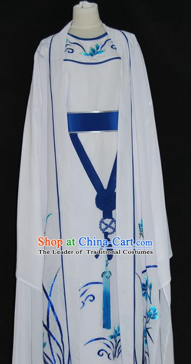 China Traditional Beijing Opera Niche Embroidered Orchid Costume Chinese Peking Opera Scholar White Robe for Adults