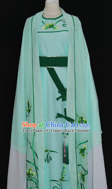 China Traditional Beijing Opera Niche Embroidered Orchid Costume Chinese Peking Opera Scholar Green Robe for Adults