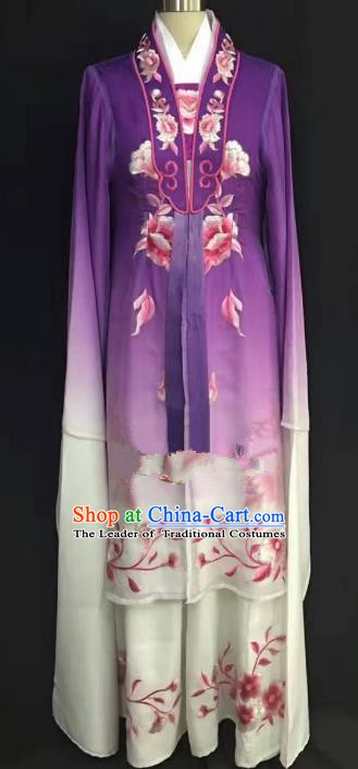 China Traditional Beijing Opera Actress Embroidered Purple Dress Chinese Shaoxing Opera Huadan Costume