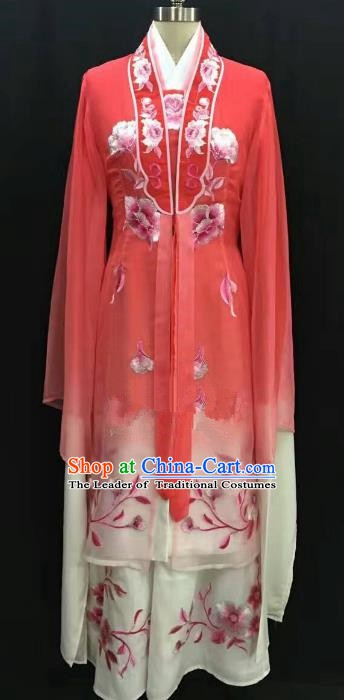 China Traditional Beijing Opera Actress Embroidered Red Dress Chinese Shaoxing Opera Huadan Costume