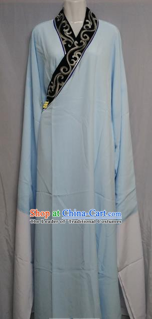 China Traditional Beijing Opera Scholar Costume Chinese Peking Opera Niche Blue Robe for Adults