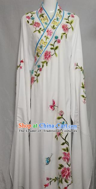 China Traditional Beijing Opera Scholar White Costume Chinese Peking Opera Niche Embroidered Peony Robe for Adults
