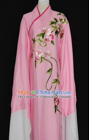 China Traditional Beijing Opera Niche Costume Chinese Peking Opera Water Sleeve Embroidered Pink Robe for Adults