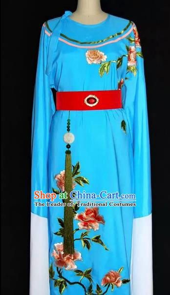 China Traditional Beijing Opera Young Men Embroidered Peony Costume Chinese Peking Opera Niche Blue Robe for Adults