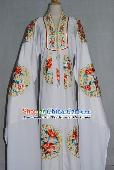 China Traditional Beijing Opera Niche Costume Embroidered White Cape Chinese Peking Opera Scholar Clothing for Adults