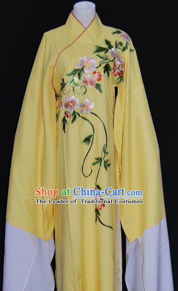 China Traditional Beijing Opera Niche Costume Embroidered Flowers Yellow Robe Chinese Peking Opera Scholar Clothing for Adults