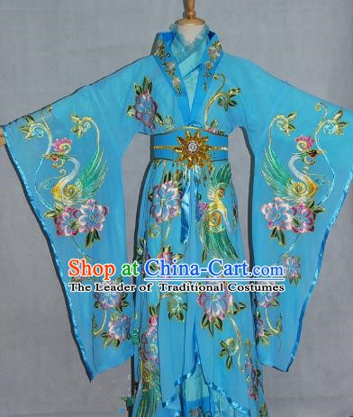 China Traditional Beijing Opera Empress Embroidered Blue Dress Chinese Peking Opera Actress Costume