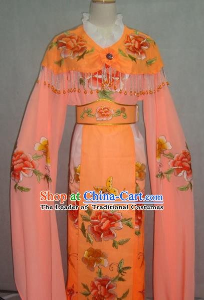China Traditional Beijing Opera Palace Princess Embroidered Orange Dress Chinese Peking Opera Actress Costume