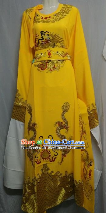 China Traditional Beijing Opera Niche Costume Chinese Peking Opera Lang Scholar Yellow Embroidered Robe for Adults