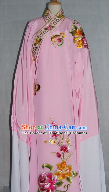 China Traditional Beijing Opera Niche Costume Embroidered Flowers Pink Robe Chinese Peking Opera Scholar Clothing for Adults