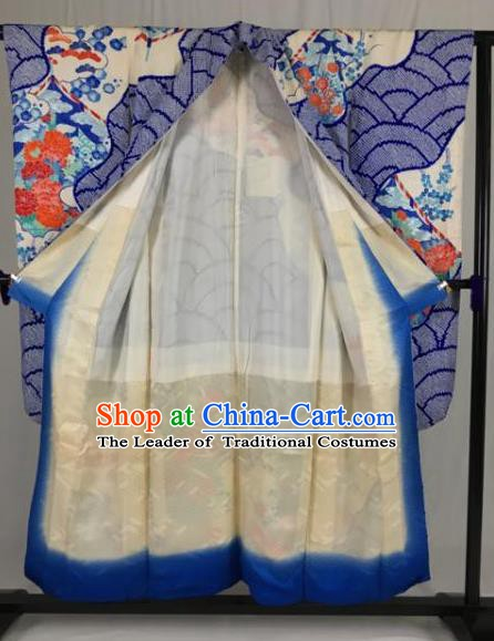 Japanese Traditional Kimono Ancient Palace Blue Yukata Robe Wafuku Hakama Haori Clothing for Men