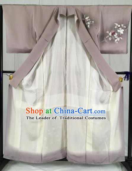 Japanese Traditional Grey Kimono Ancient Palace Yukata Robe Wafuku Hakama Haori Clothing for Men