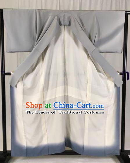 Japanese National Costume Grey Kimono Ancient Palace Wafuku Hakama Yukata Robe for Men