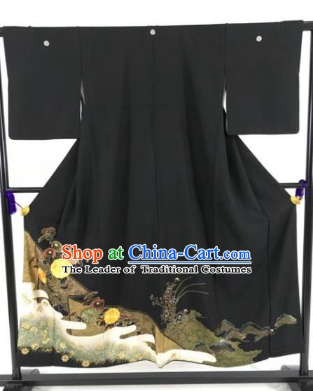 Japanese National Costume Black Kimono Ancient Palace Wafuku Hakama Yukata Robe for Men
