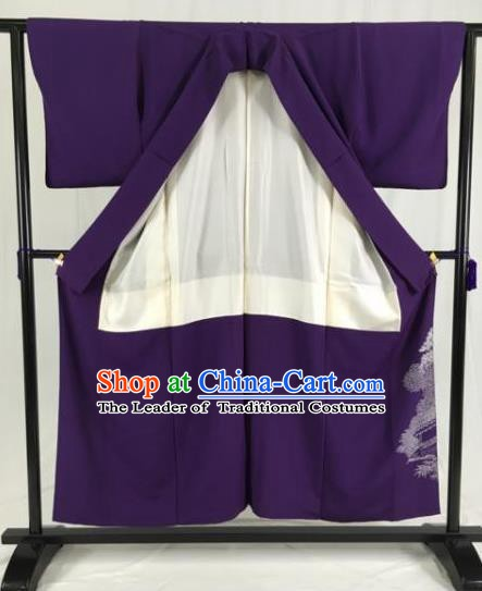 Japanese National Costume Purple Kimono Ancient Palace Wafuku Hakama Yukata Robe for Men