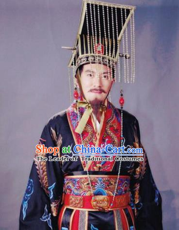 Chinese Ancient Song Dynasty Huizong Emperor Calligrapher Zhao Ji Replica Costume for Men