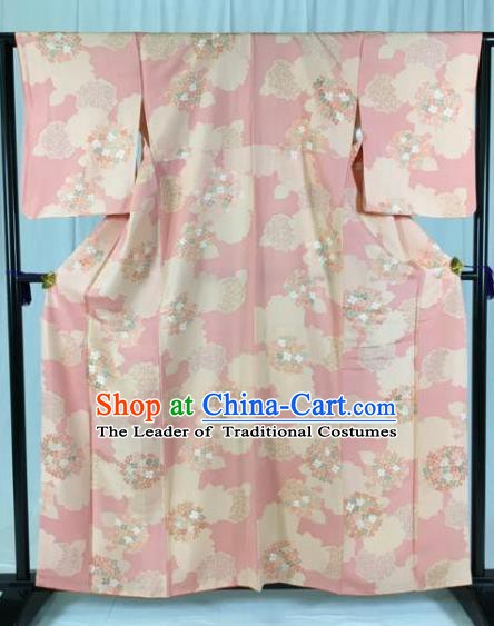 Asian Japan Palace Pink Kimono Formal Costume Furisode Kimonos Ancient Yukata Dress for Women
