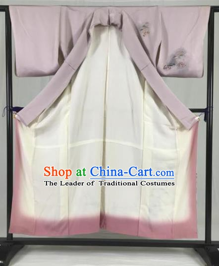 Asian Japan Palace Printing Lilac Kimono Ancient Yukata Dress Formal Costume Furisode Kimonos for Women