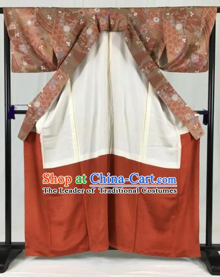 Asian Japan Palace Printing Kimono Ancient Yukata Dress Formal Costume Furisode Kimonos for Women