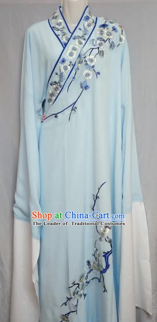 China Beijing Opera Embroidered Plum Blossom Blue Robe Chinese Traditional Peking Opera Scholar Costume for Adults
