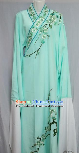 China Beijing Opera Embroidered Plum Blossom Green Robe Chinese Traditional Peking Opera Scholar Costume for Adults