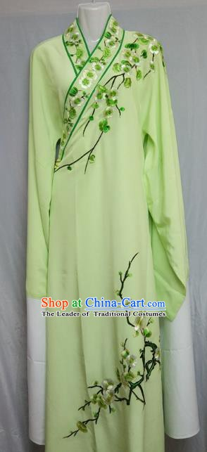 China Beijing Opera Embroidered Plum Blossom Light Green Robe Chinese Traditional Peking Opera Scholar Costume for Adults
