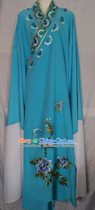 China Beijing Opera Niche Embroidered Blue Robe Chinese Traditional Peking Opera Scholar Costume for Adults