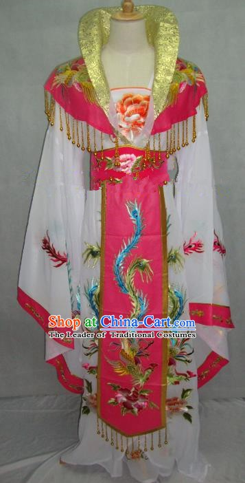 Traditional China Beijing Opera Diva Embroidered White Dress Chinese Peking Opera Empress Costume