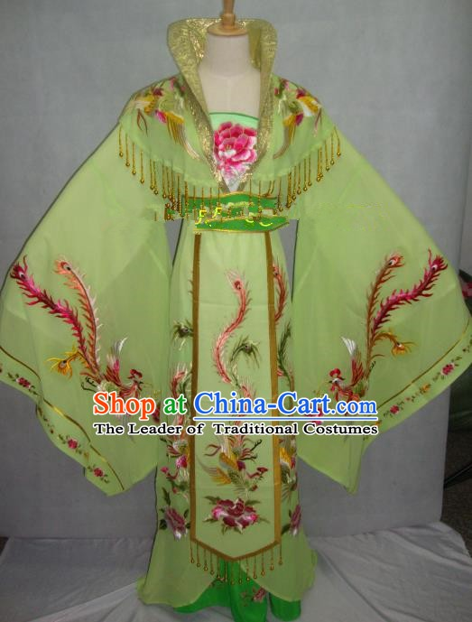 Traditional China Beijing Opera Diva Embroidered Green Dress Chinese Peking Opera Empress Costume