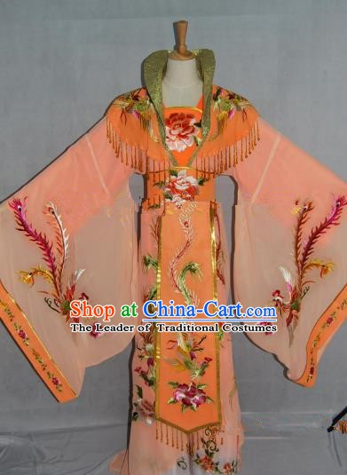 Traditional China Beijing Opera Diva Embroidered Orange Dress Chinese Peking Opera Empress Costume