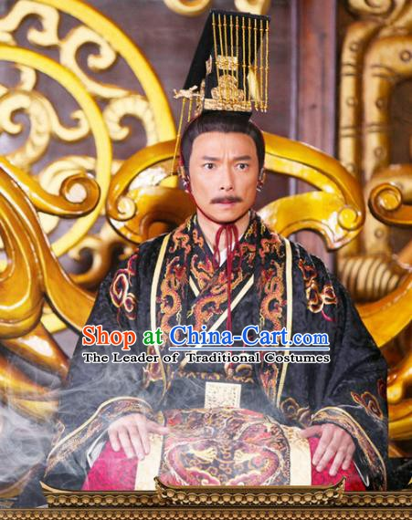 Traditional Chinese Tang Dynasty Rui Emperor Li Xian Hanfu Replica Costume for Men