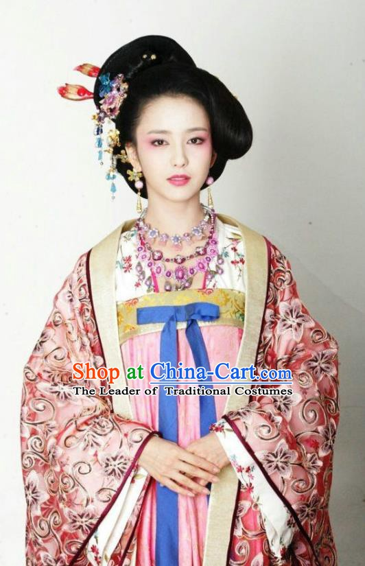Chinese Traditional Tang Dynasty Imperial Consort Embroidered Dress Replica Costume for Women