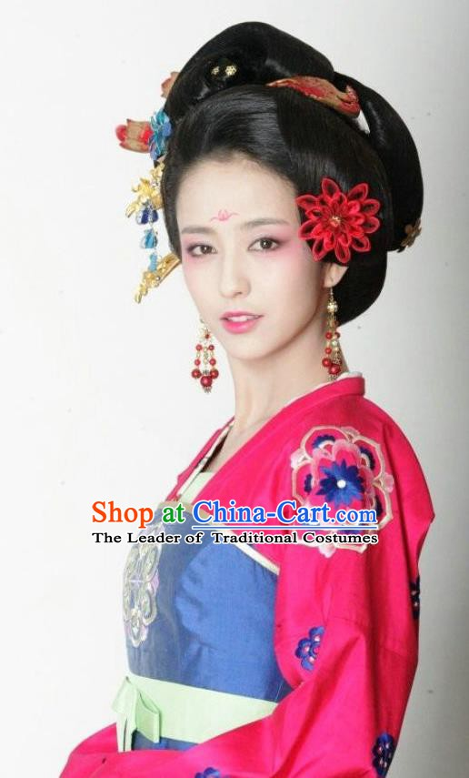 Chinese Traditional Tang Dynasty Courtesan Embroidered Dress Replica Costume for Women