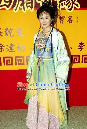 Chinese Traditional Tang Dynasty Novel Romance of the West Chamber Nobility Lady Cui Yingying Dress Replica Costume for Women