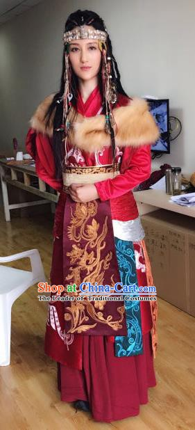 Chinese Traditional Tang Dynasty Persian Princess Embroidered Replica Costume for Women