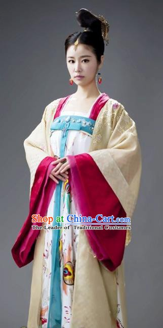 Chinese Traditional Tang Dynasty Palace Lady Empress Wu Zetian Replica Costume for Women