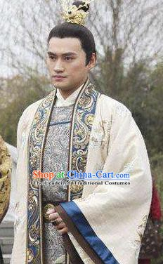 Traditional Chinese Tang Dynasty Emperor Li Zhi Embroidered Replica Costume for Men