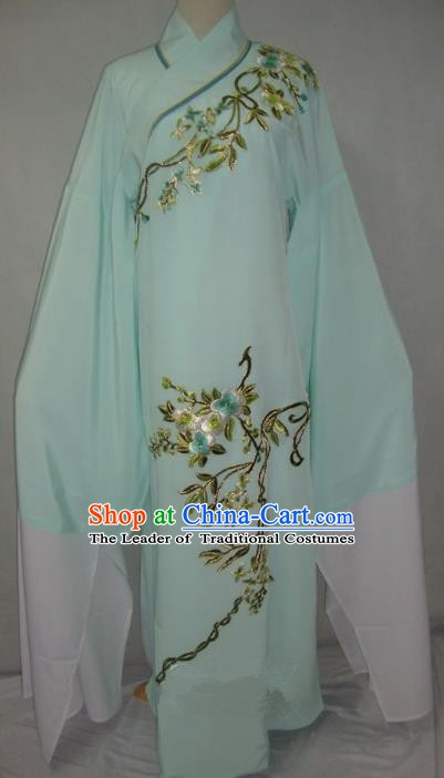 China Beijing Opera Lang Scholar Niche Costume Light Green Embroidered Robe for Adults