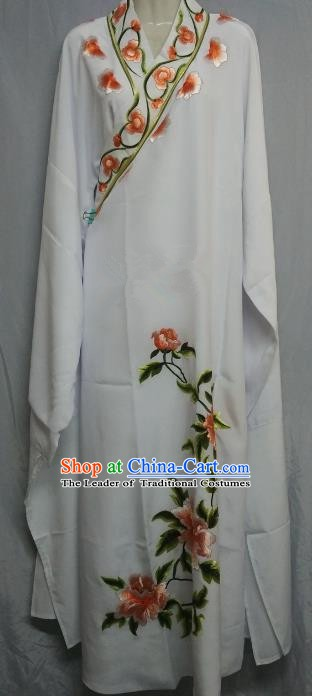 China Beijing Opera Lang Scholar Niche Costume White Embroidered Peony Robe for Adults